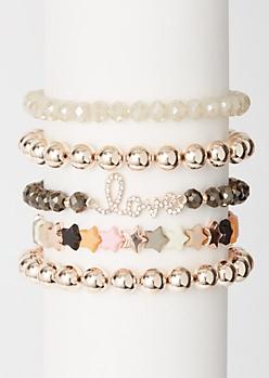 5-Pack Multi Star Love Bracelet Set
