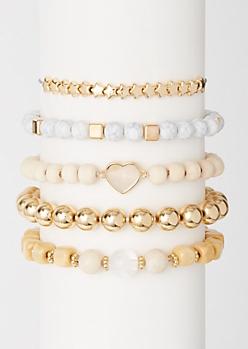 5-Pack Marble Star Bead Bracelet Set
