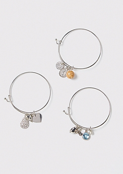 3-Pack Silver Elephant Gemstone Bangle Bracelet