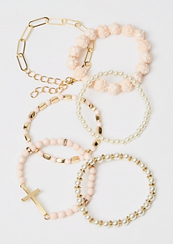 6-Pack Gold Pearl Stretch Bracelets