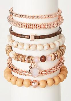 7-Pack Rose Gold Wood Bead Bracelet Set
