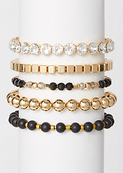 5-Pack Gold Gem Beaded Bracelet Set