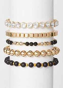 5-Pack Gold Gem Beaded Bracelet Set