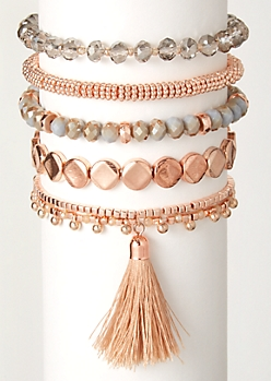 5-Pack Rose Gold Tassel Bracelet Set