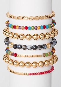 7-Pack Rainbow Marbled Bead Bracelet Set