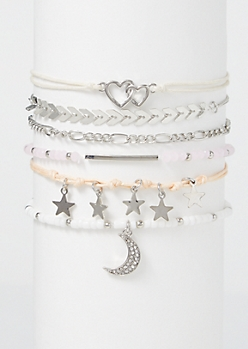 6-Pack Beaded Moon Star Friendship Bracelet Set