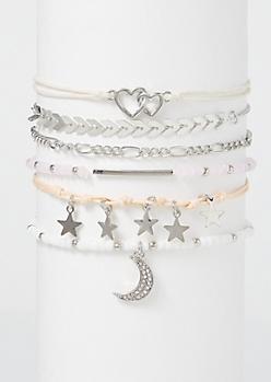 6-Pack Beaded Moon Star Friendship Bracelet Set