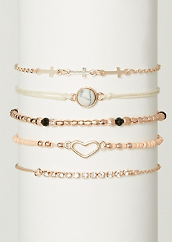 5-Pack Rose Gold Beaded Bracelet Set