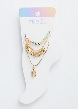 3-Pack Rainbow Bead Dangle Anklet Set