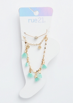 3-Pack Teal Tassel Charm Anklet Set