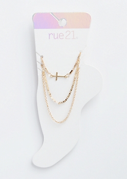 3-Pack Gold Chain Cross Anklet Set