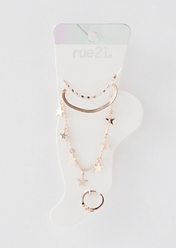 4-Pack Rose Gold Star Anklet Jewelry Set