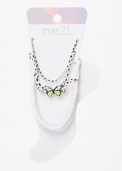 3-Pack Silver Butterfly Puka Anklet Set
