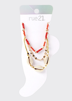 3-Pack Red Bead Cowry Shell Anklet Set