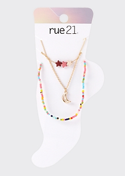 3-Pack Rainbow Moon And Star Anklet Set