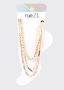 3-Pack Gold Bar Chain Anklet Set