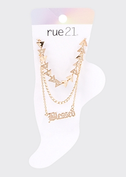 3-Pack Gold Blessed Triangle Anklet Set