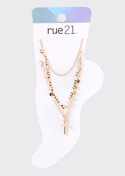 3-Pack Gold Cross Mixed Chain Anklet Set