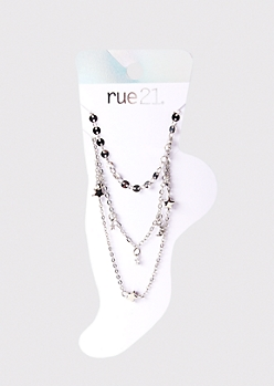 3-Pack Silver Star And Moon Anklet Set