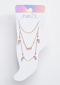 3-Pack Rose Gold Charm Anklet Set