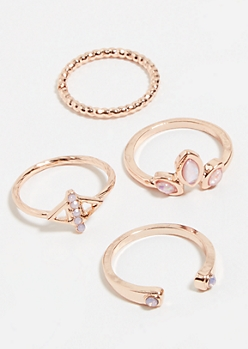 4-Pack Rose Gold Opal Stackable Rings