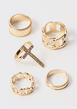 5-Pack Gold Rhinestone Chain Cross Chunky Rings