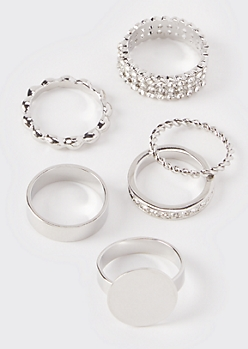 6-Pack Silver Signet Stacking Rings