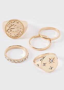 5-Pack Gold Celestial Chunky Ring Set