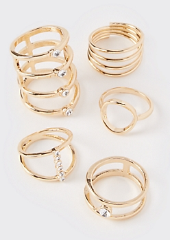 5-Pack Gold Gem Stacking Rings