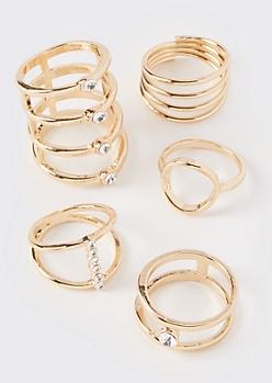 5-Pack Gold Gem Stacking Rings