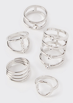 5-Pack Silver Gem Stacking Rings