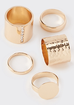 5-Pack Gold Signet Stacking Rings