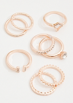 8-Pack Rose Gold Stackable Rhinestone Ring Set