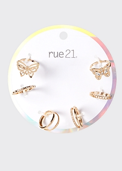 6-Pack Gold Butterfly Stacking Rings