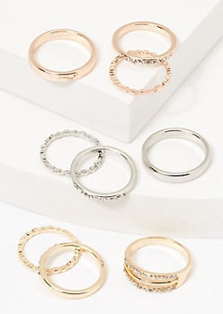9-Pack Mixed Metal Gemstone Stacking Rings