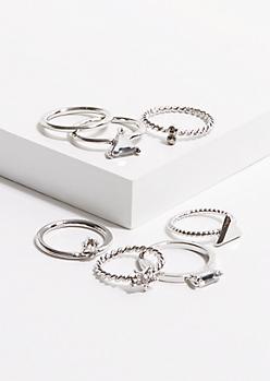 7-Pack Silver Geo Gem Midi Ring Set