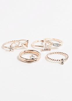 7-Pack Rose Gold Geo Gem Midi Ring Set