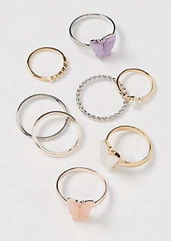 8-Pack Butterfly Thin Band Stacking Ring Set