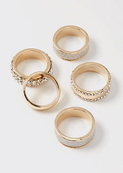 5-Pack Gold Rhinestone Chunky Ring Set