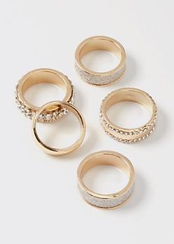 5-Pack Gold Rhinestone Chunky Ring Set