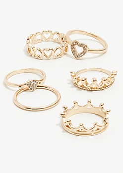 7-Pack Gold Heart Ring Set