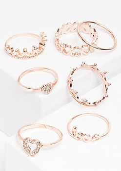 7-Pack Rose Gold Heart Ring Set
