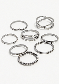 8-Pack Dark Metal X Band Ring Set