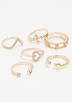 7-Pack Gold Smiley Face Ring Set
