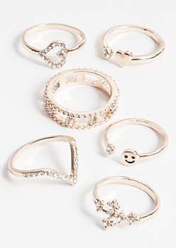 6-Pack Rose Gold Smiley Face Ring Set