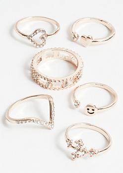 6-Pack Rose Gold Smiley Face Ring Set