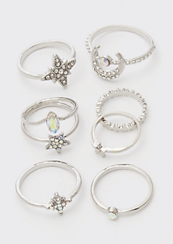 7-Pack Silver Celestial Star Rhinestone Ring Set