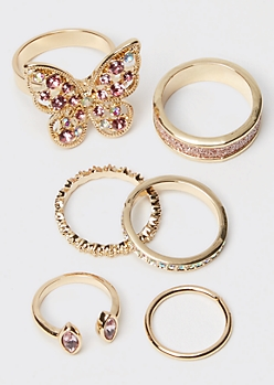 6-Pack Gold Butterfly Gemstone Ring Set