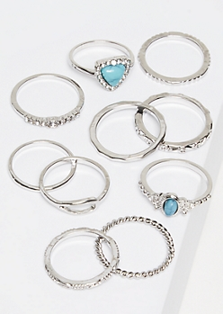 10-Pack Silver Turquoise Ring Set