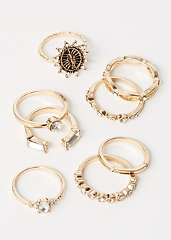 7-Pack Gold Saint Stone Ring Set